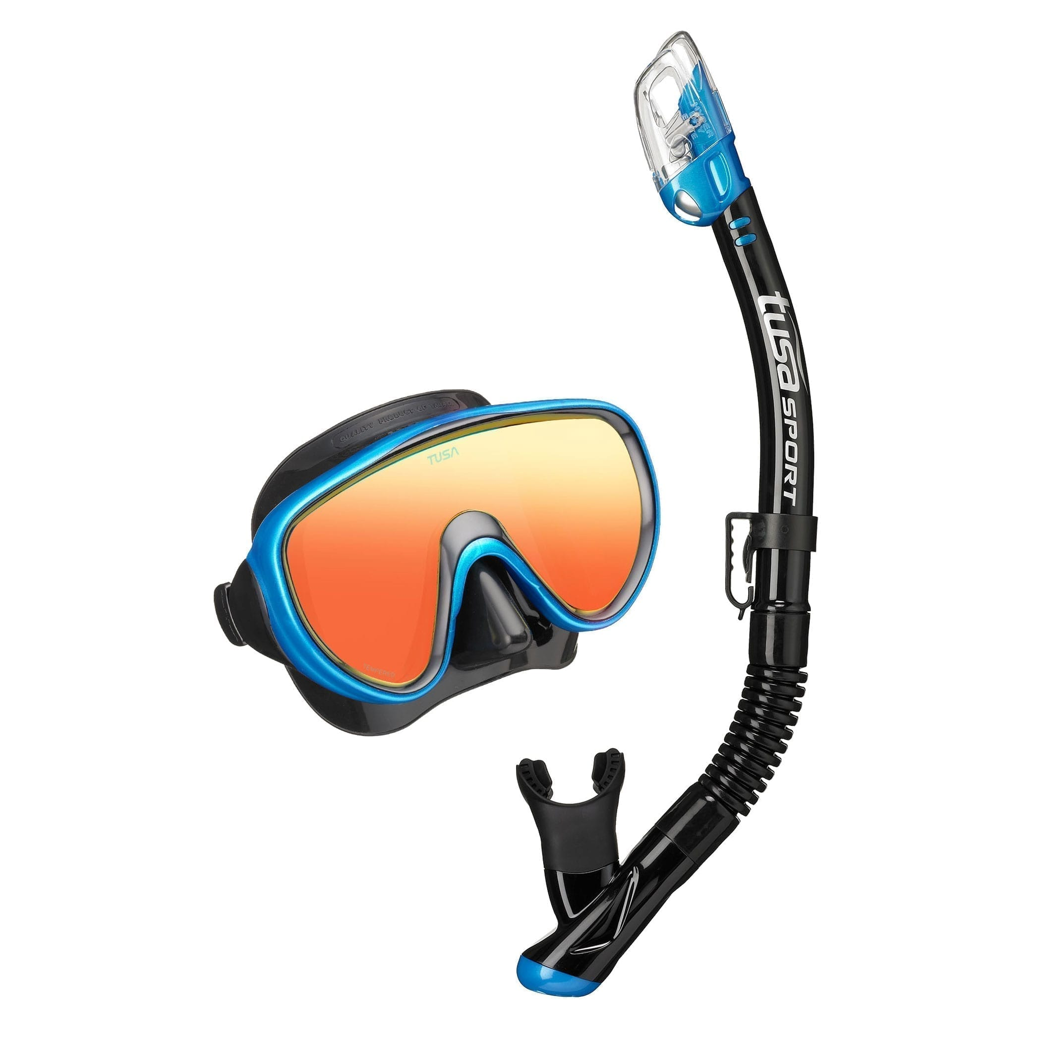 TUSA Sport Serene Adult Combo Mirror Lens Fishtail Blue snorkelling gear
